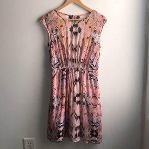 J Crew pink marble print silk chiffon dress